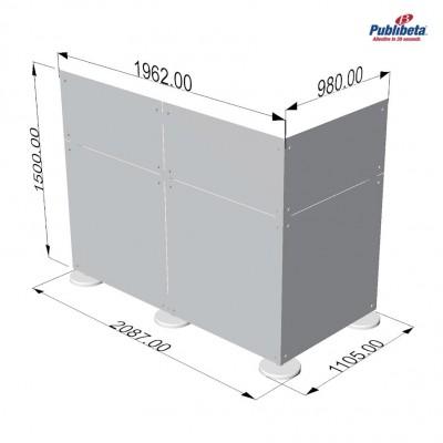 Parete divisoria in plexiglass ad angolo 2x1,5