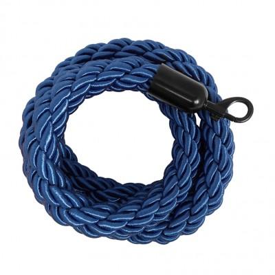 Cordone intrecciato 2 mt. colore blu con morsetti finitura colore nero opaco