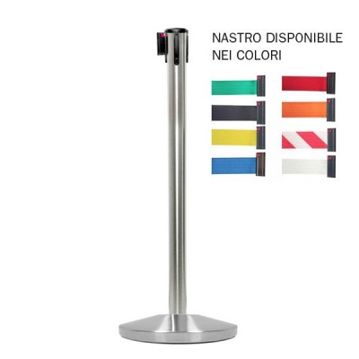Colonnina segnapercorso ACCIAIO SPAZZOLATO inclusa di nastro 3 mt.