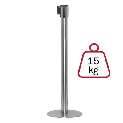 Colonnina segnapercorso ACCIAIO SPAZZOLATO, 15 kg., inclusa di nastro 3 mt.