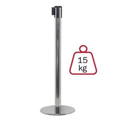 Colonnina segnapercorso ACCIAIO LUCIDO, 15 kg., inclusa di nastro 3 mt.
