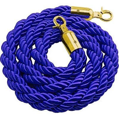 Cordone intrecciato 2 mt. colore blu con morsetti finitura colore gold.