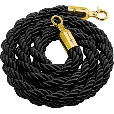 Cordone intrecciato 2 mt. colore nero con morsetti finitura colore gold.