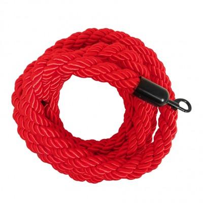Cordone intrecciato 2 mt. colore rosso con morsetti finitura colore nero opaco