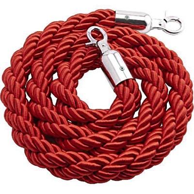 Cordone intrecciato 2 mt. colore Rosso con morsetti finitura colore silver.