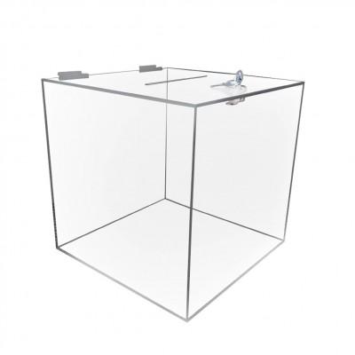 Cubo urna trasparente con chiave