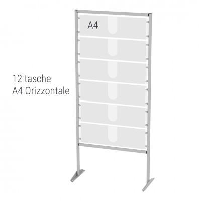 Espositore autoportante porta avvisi n.12 tasche A4 orizzontali