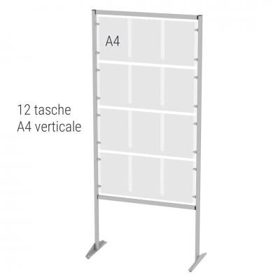 Espositore autoportante porta avvisi n.12 tasche A4 verticali