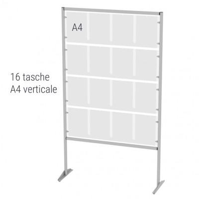 Espositore autoportante porta avvisi n.16 tasche A4 verticali