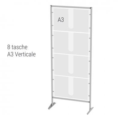Espositore autoportante porta avvisi n. 8 tasche A3 verticali