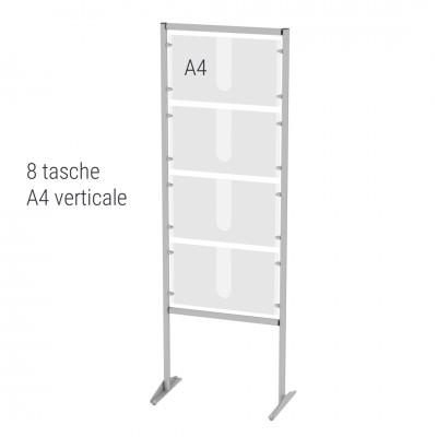 Espositore autoportante porta avvisi n.8 tasche A4 verticali