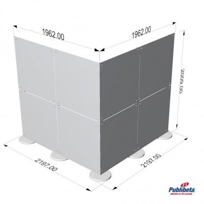 Parete divisoria in plexiglass ad angolo 2x2