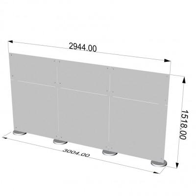 Parete divisoria in plexiglass 3x1,5