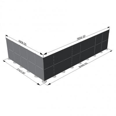 Parete divisoria in plexiglass ad angolo 8x5 mt