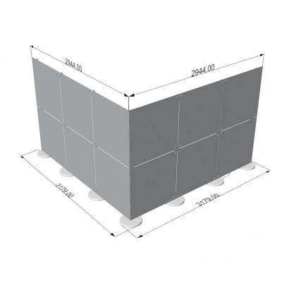 Parete divisoria in plexiglass ad angolo 3x3