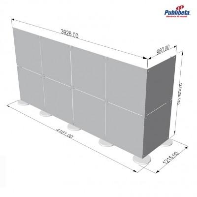 Parete divisoria in plexiglass ad angolo 4x2