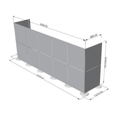 Parete divisoria in plexiglass ad angolo 5x2