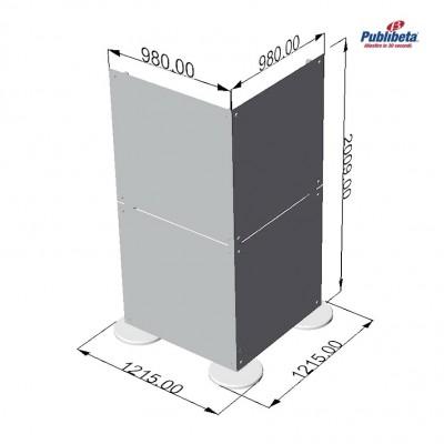 Parete divisoria in plexiglass ad angolo 1x2