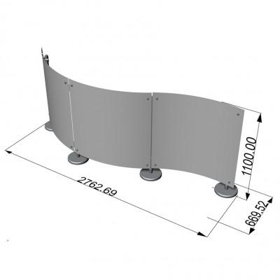 Parete divisoria curva pannelli in plexiglass 3x1