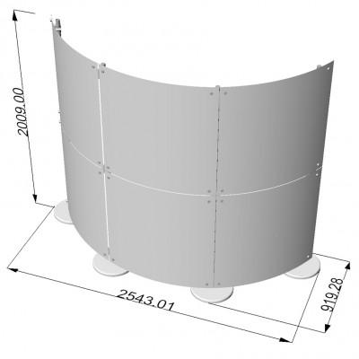 Parete divisoria curva pannelli in plexiglass 3x2 mt