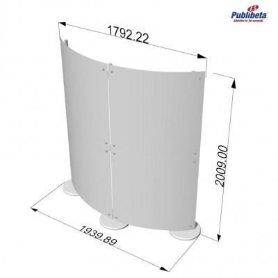 Parete divisoria curva pannelli in plexiglass 2x2 mt