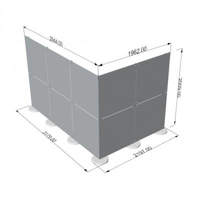 Parete divisoria in plexiglass ad angolo 3x2