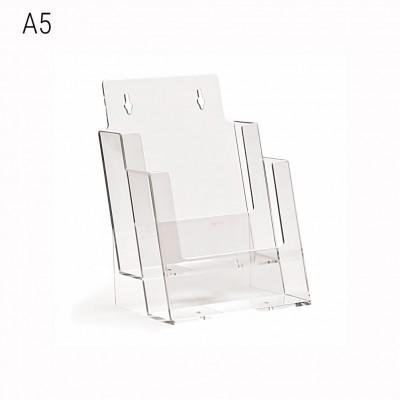 Porta depliant da banco a 2 tasche formato A5