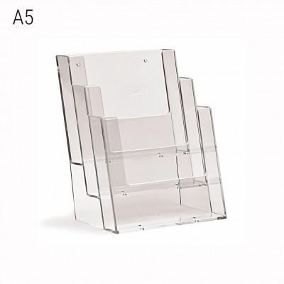 Porta depliant da banco a 3 tasche formato A5