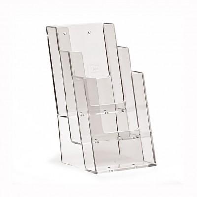 Porta depliant plexi da banco 1/3 - A4 - tasca TRIPLA