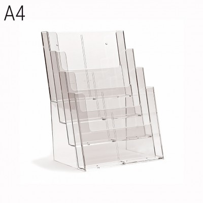 Porta depliant da banco a 4 tasche formato A4