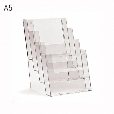 Porta depliant da banco a 4 tasche formato A5