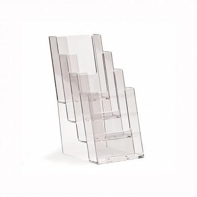 Porta depliant plexi da banco 1/3 - A4 - a 4 tasche