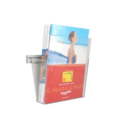 Portadepliant in plexi da muro con barra cm. 25 e 1 vaschetta formato A4