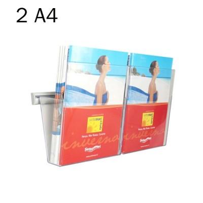 Portadepliant in plexi da muro con barra cm. 25 e 2 vaschette formato A4