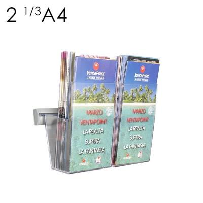 Portadepliant in plexi da muro con barra cm. 25 e 2 vaschette formato 1/3-A4