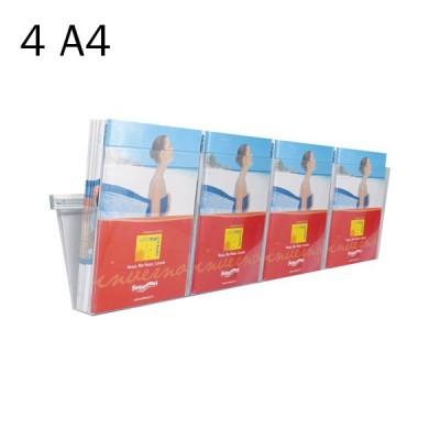 Portadepliant in plexi da muro con barra cm. 100 e 4 vaschette formato A4