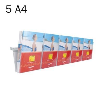 Portadepliant in plexi da muro con barra cm. 125 e 5 vaschette formato A4