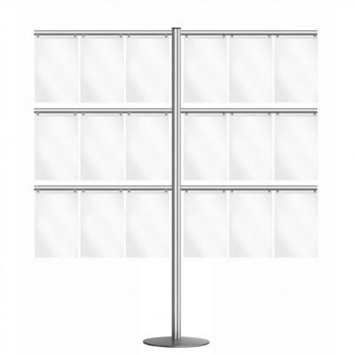 Espositore porta avvisi, n. 18 tasche A4 verticali, profilo da 70 mm.