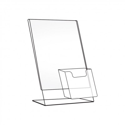 Porta avviso in plexi inclinato da banco con tasca
