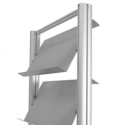 Espositore portadepliant a 4 ripiani in lamiera microforata (3x A4)