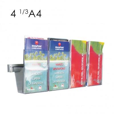 Portadepliant in plexi da muro con barra cm. 50 e 4 vaschette formato 1/3-A4