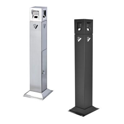 Posacenere da esterno a colonna con base quadrata
