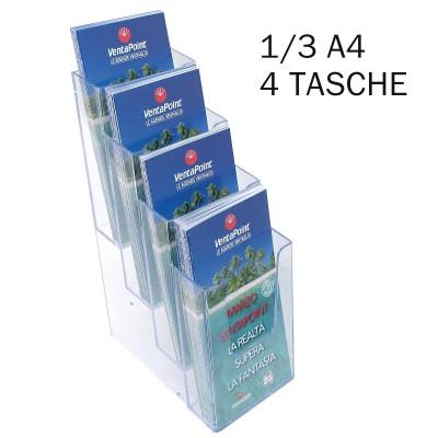 Porta depliant 1/3 A4 con 4 tasche