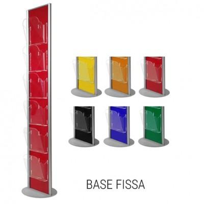 Porta depliant colorato base fissa, 6 tasche A4