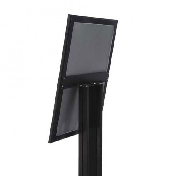 Bacheca NERA cornice LED per esterni autoportante per 4xA4