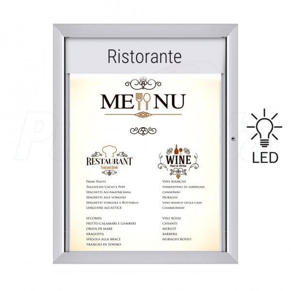 Porta menu luminoso bacheca a LED