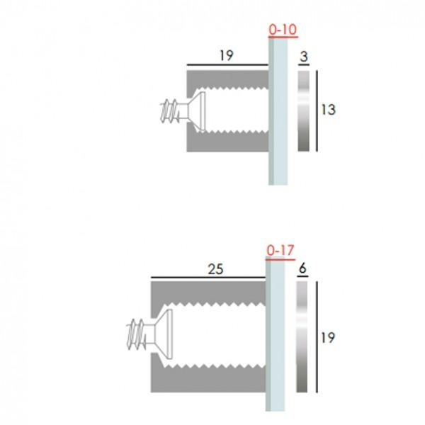 Distanziale trasparente 19x13 mm