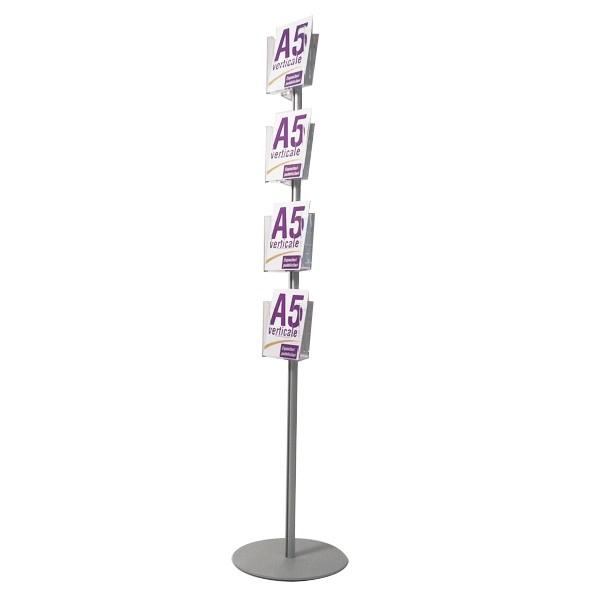 Espositore portadepliant monofacciale con 4 tasche A5 - H 160 cm