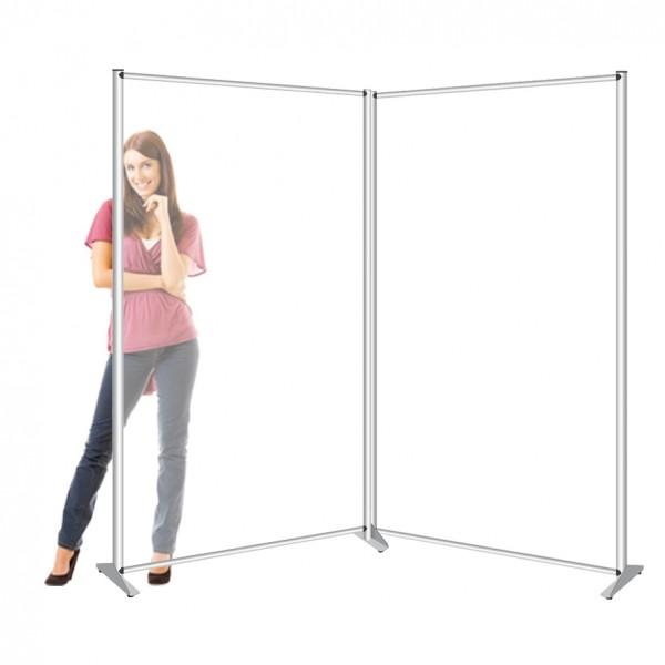 Pannello divisorio doppio in plexiglass. Disponibile anche in policarbonato alveolare, e forex.