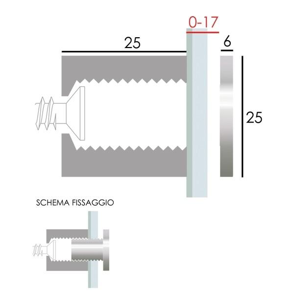 Distanziale in ottone cromato lucido 25x25